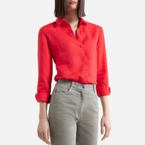 Camisa recta de lino con manga larga