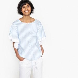 Striped Ruffled Sleeve Blouse MADEMOISELLE R