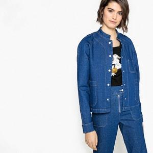 Recht jeansjasje met maokraag La Redoute Collections