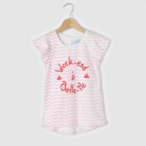 T-shirt com folhos nas mangas, estampada, 3-12 anos abcd'R