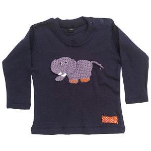 T-shirt bébé customisé avec éléphant brodé coton bleu marine RIKIKI KIDS