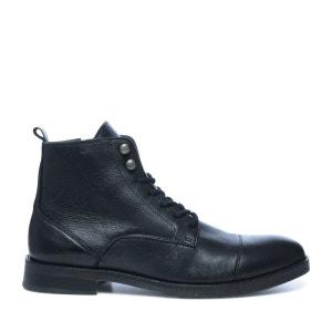Boots à lacets en cuir avec empiècement SACHA