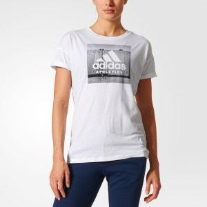 Tee shirt col rond, motif devant adidas