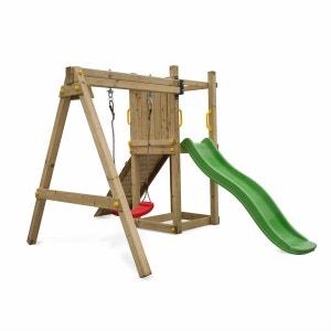 Aire de jeux Bise en bois avec toboggan, 1 balançoire, corde et rampe en pin séché autoclave ALICE S GARDEN