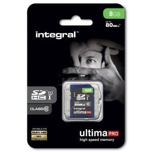 Cartes memoire  SDHC 8 GO CL 10/80 INTEGRAL