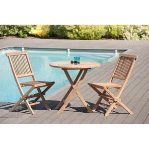 Salon de jardin en teck brut Table ronde pliante 80cm 2 chaises SUMMER PIER IMPORT