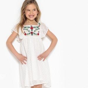 Vestido com escapulário bordado com flor, 3-12 anos La Redoute Collections