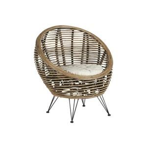 Fauteuil en rotin assise coussin tissu écru et pieds métal 72x82x76cm CANADA PIER IMPORT