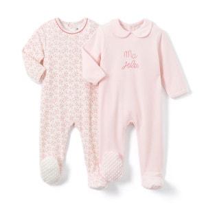Lot de 2 Pyjamas velours 0 mois-3 ans La Redoute Collections