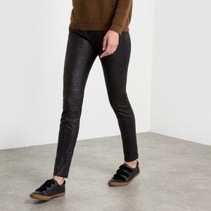 Pantalón slim, efecto piel de melocotón satén SEE U SOON