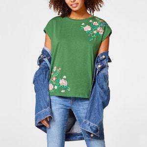 T-shirt imprimé fleurs, col rond, manches courtes ESPRIT