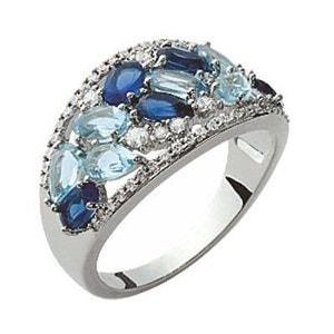 Bague Femme Anneau Serti Oxyde de Zirconium Camaieu Bleu Argent 925 SO CHIC BIJOUX