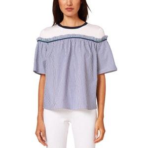 Gestreifte Bluse, runder Ausschnitt, kurze Ärmel ESPRIT