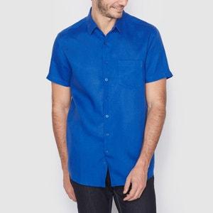 Camisa de manga corta con corte recto 100% lino R essentiel