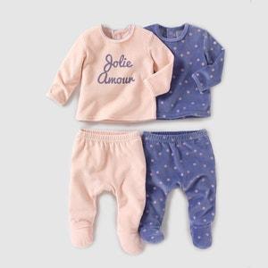 Pyjama 2 pièces velours (lot de 2) 0 mois-3 ans R mini