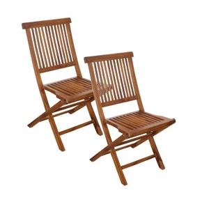 Lot de 2 chaises de jardin en Teck massif huilé 45x60x90cm MACAO PIER IMPORT