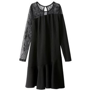 Платье с баской из кружева и вискозы MADEMOISELLE R