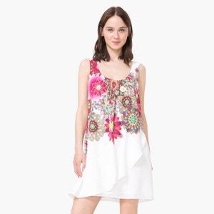 Vestido corto drapeado con estampado de flores DESIGUAL