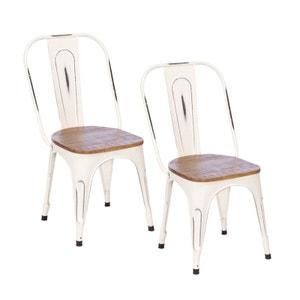 Lot de 2 chaises industrielles métal blanc bois recyclé LEEDS PIER IMPORT