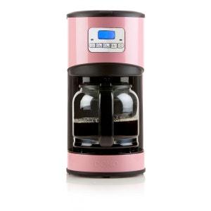 DOMO - Cafetière électrique programmable - Ecran LCD - Design rose - 12 tasses - 1,8L. DOMO