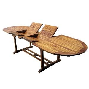 Table de jardin en teck XXL 200-250-300 cm double rallonge WOOD EN STOCK