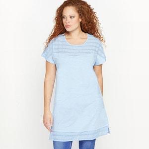 Camiseta túnica de manga corta, dos tejidos CASTALUNA