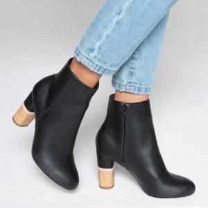 Boots cuir talon aspect bois La Redoute Collections