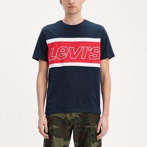 Bedrukt T-shirt met ronde hals Colorblock