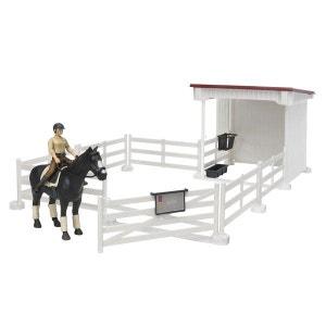 Enclos avec box et figurines cheval et cavalière BRUDER