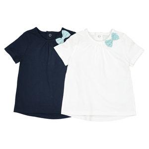 Lot de 2 T Shirts avec nœud côté 1 mois-3ans La Redoute Collections