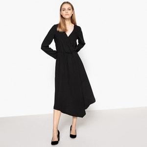 Vestido midi asimétrico, efecto cruzado La Redoute Collections