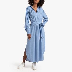 Lange gestreepte jurk met lange mouwen