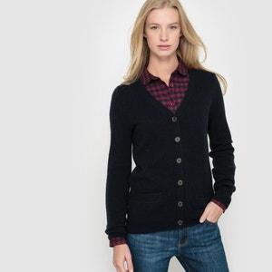Chaqueta de punto con cuello de pico, 50% lana R essentiel