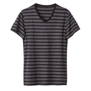 100% Cotton Striped V-Neck T-Shirt La Redoute Collections