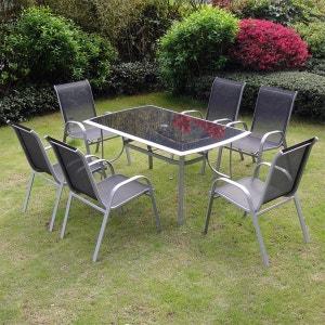 Alassio 6 : Ensemble table + 6 chaises en aluminium CONCEPT USINE