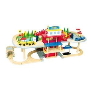 Superbe circuit de jeu en bois - Livré avec voitures, train, maisons, arbres,... - 80 pièces ! NONAME