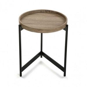 Table basse d'appoint ronde plateau  métal noir Versa Hennan VERSA