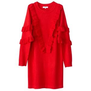 Платье-пуловер короткое с воланами и длинными рукавами SUNCOO