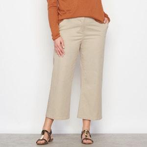 Wide Leg Cropped Cotton Twill Trousers CASTALUNA