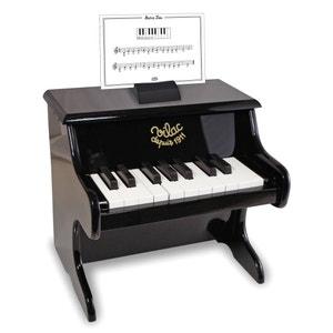 Piano negro de madera 18 teclas con partituras 8296 VILAC