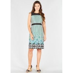 Langes Kleid, gerade Form, Tupfendruck, ärmellos RENE DERHY