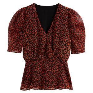 Blusa con cuello de pico y estampado de flores, manga corta