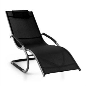 Sunwave Chaise longue transat Relax Aluminium noir BLUMFELDT