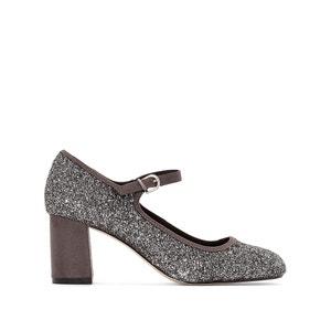 Sapatos em pele com purpurinas, com tacão, Susan JONAK