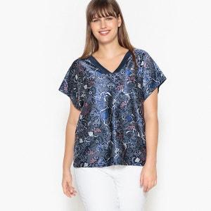 Tee shirt  col v imprimé floral, manches courtes CASTALUNA