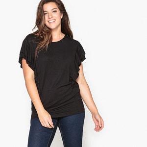 T-shirt com gola redonda, folho nas mangas CASTALUNA