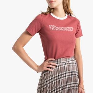 T-shirt met ronde hals en korte mouwen, tekst vooraan