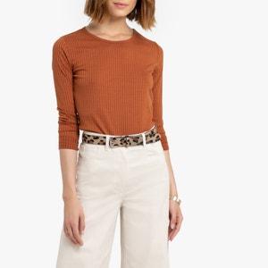 T-shirt met ronde hals en lange mouwen, geribd tricot