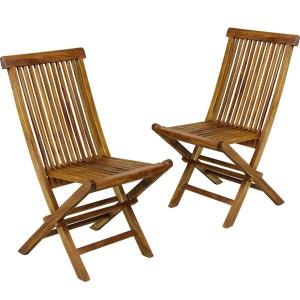 Lot de 2 chaises de jardin en teck huilé , chaises pliantes WOOD EN STOCK