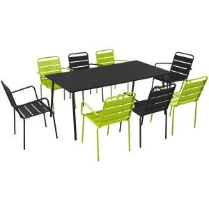 Salon de jardin en métal 1 table et 8 fauteuils BOUTIQUE-JARDIN
